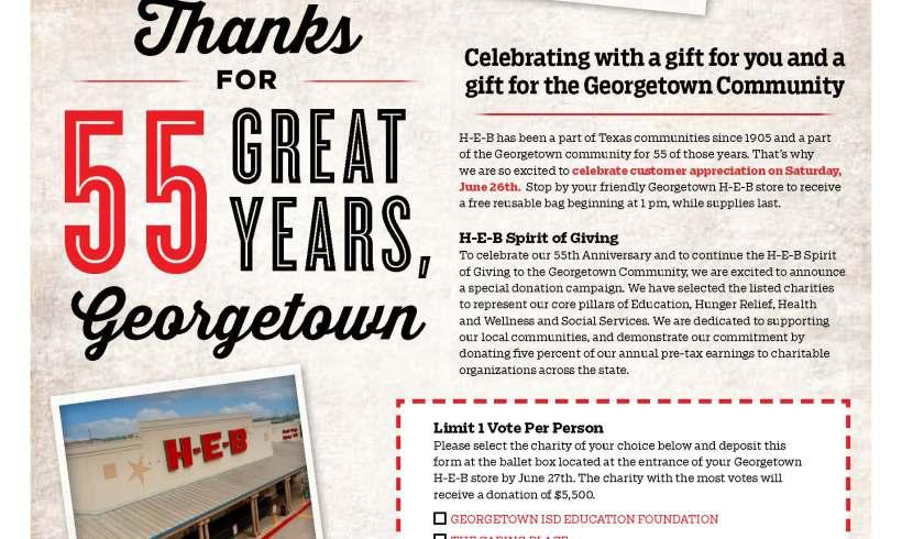 H-E-B Celebrates 55th Anniversary in Georgetown through Donation Campaign