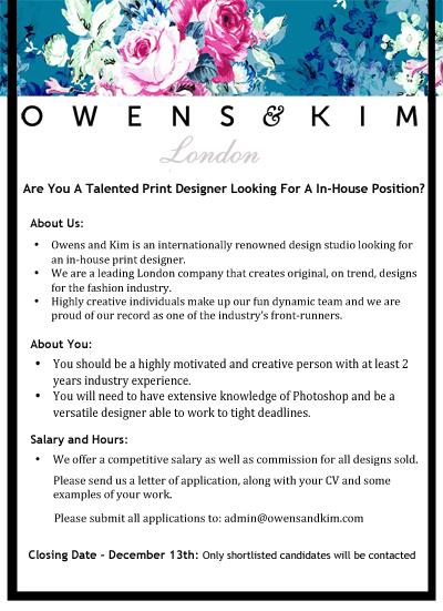 In House Print Designer Vacancy Owens Amp Kim