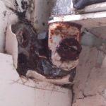 Broken out hinge bolt