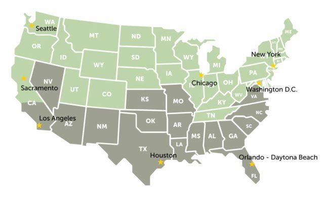 A map of the targeted growth locations: Seattle, Sacramento, Los Angeles, Houston, Chicago, New York, Washington D.C. and Orlando-Daytona Beach.