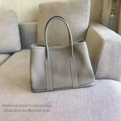 039c5b59a8e0 Hermes Garden Party 36 30 Tote Bag In Imported Togo Leather Light Grey