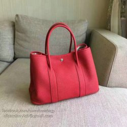 6a3d067e911 Hermes Garden Party 36 30 Tote Bag In Imported Togo Leather Red