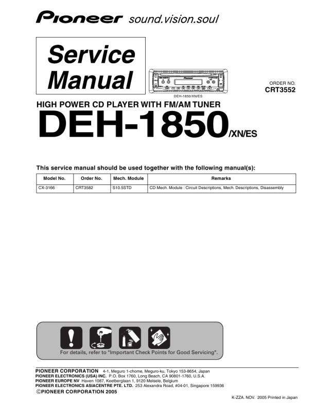 download pioneer deh1850 service manual