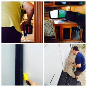 April 3, 2015 Mods and maintenance day: installing a dual-monitor arm on the desk, scraping and re-caulking exterior seams. Turns out I'm better at caulking than Tim is. Don't say that out loud.