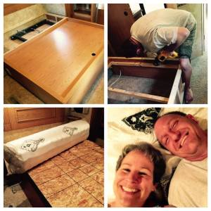 May 2, 2015 So it took all damn day and into the night, but there's only a little left to do tomorrow to complete our king-to-queen RV bed project. I could have made any number of off-color jokes about all the ratcheting, screwing, hammering, nailing, drilling, grunting, swearing, sweating, shifting of hydraulics and twisting of nuts that went on, but that would have been too easy. So instead I just kept track of what we said. I think you'll be amply amused. Had you been lurking in our driveway between 11 a.m. and 9 p.m. today, you may have felt your eyebrows rise right up into your hairline upon hearing any number of the following, all of which we actually said, for real, no kidding: Hold it there. No, not there. *There*. OK, now tighter. Stop stop stop! Did it go through? Please stop farting in here. Did it come out? Can you see the end? Shit! It broke. Oh god. Where's the vacuum cleaner? Honey, I really don't think you need your safety glasses for this. Is that a tortilla chip? Is that blood? Ten inches. Remember ten inches. Pass me my magic gloves, please. Does it matter which way I turn this? Are we finished yet? This may be too soft. Stop. Farting. I don't know what you want me to do with this. Put it on the end. This is such a handy tool. Wait. We're missing a piece. Is that blood? That hurt. Are we gonna be able to get that back in? Take that off. I need another little piece in there so I have something to screw against. I have no idea what that is. Oh wow! That's actually close enough. 93.5 inches. OK, let it go. I don't know if I'm in the right spot. Ooh, I walked around the corner and got it in my eyes. I don't need a four-inch. I need three-inch, but I don't see any. OK, I'm gonna be more down on this end now. Oops! That didn't go in very far did it? Where'd the head go? I can't believe the battery just died right in the middle. I'm gonna want another one in a minute. Why won't that go in? Well, can you brace it with your knee or something? Ohhhh, I am g