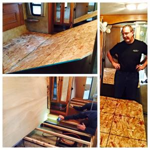 """April 4, 2015 Today we deconstructed our bed to figure out what it's gonna take to turn it from a king to a queen. Yes, even within the RV we are downsizing. But after we relocate a little wiring, shift the hydraulics to the left, and do a little creative carpentry, we will be able to *walk* on each side of the bed, rather than shuffle sideways. It's a big deal. Oh, and that's Tim's """"We've put the whole thing back together, screws and all, and uh, I think I left my tape measure under there, dammit."""" look."""
