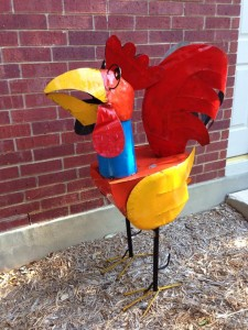 Oct. 24, 2014 Charlene, my giant metal chicken who was just not suitable for RV travel. She lives happily in suburban MD now.