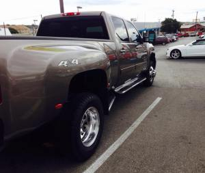 Sept. 26, 2014 Bought ourselves a 2012 Chevy 1-ton Duramax Allison diesel dually Silverado... thingie. It'll pull our next home and all our baggage. Eats oil fields for lunch. But at least it won't make my butt look big.
