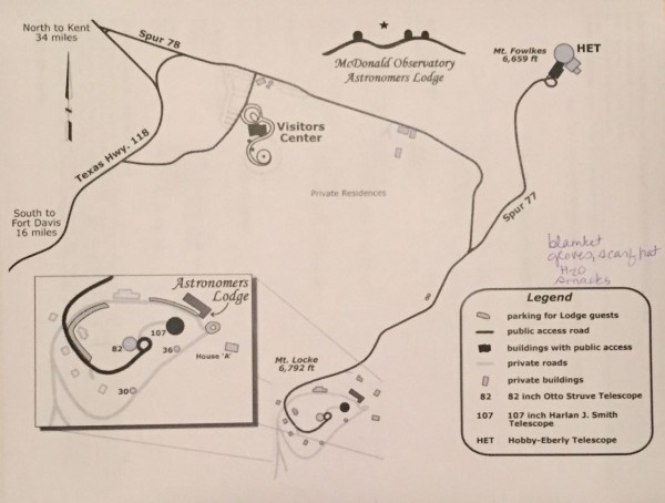 Map of the observatory compound, complete with my notes on what to pack for the star party. Temps were in the 30's!