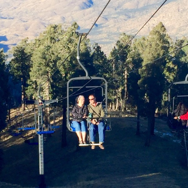 Up we go, on a ski lift with no snow! Well, not much anyway.