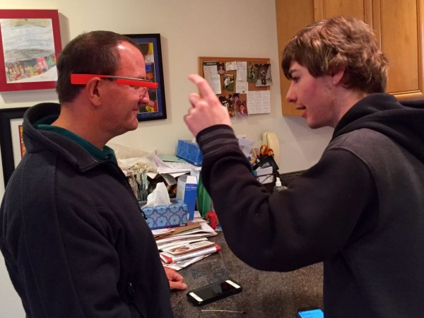 Ryan gave Tim a demo of Google Glass. Those two tech-heads are a lot alike!