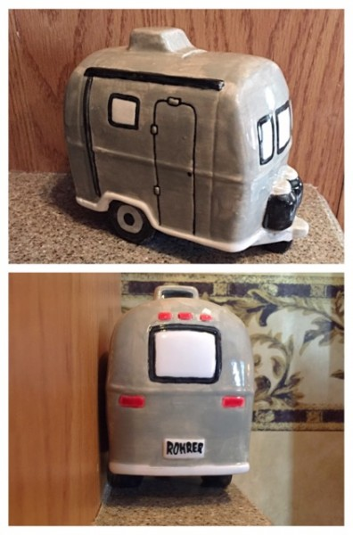 Item in: An adorable Airstream-esque bank, hand-painted by my nephew, Cole, at his mama's shop. We're using it for laundry quarters!