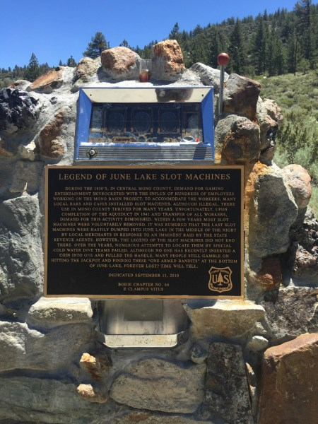 I pulled in to stop at a scenic overlook, and found a slot machine in a rock. If you can't read the story about why it's there, click here.