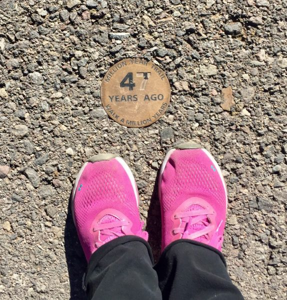 I found my place on the Trail of Time. Each meter signifies a million years of history, so um, it didn't take long.