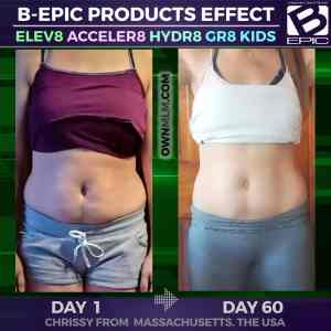 B-Epic's Elev8 & Acceler8 results (Chrissy Weaver photo before and after)