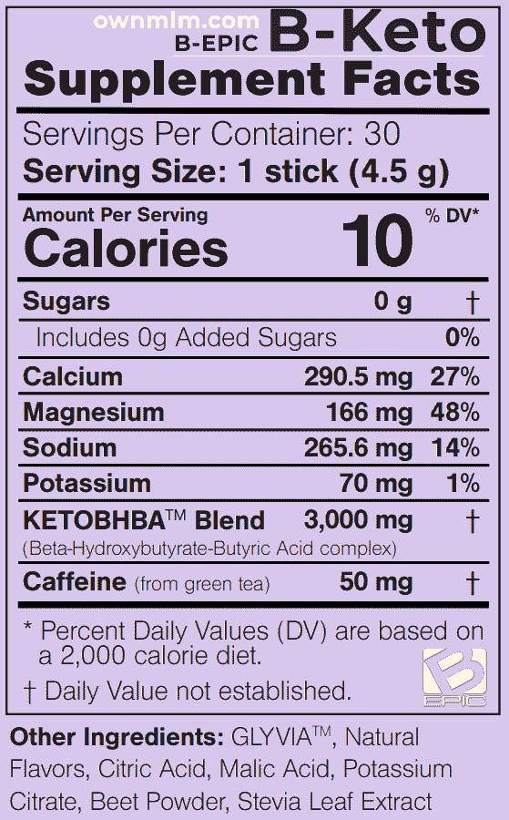 BEpic BKeto Supplement Facts & Ingredients
