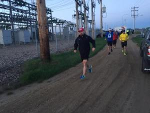 Leaving Nisku at 5:05am w/ first group of support runners. It was cold, too bad that didn't last