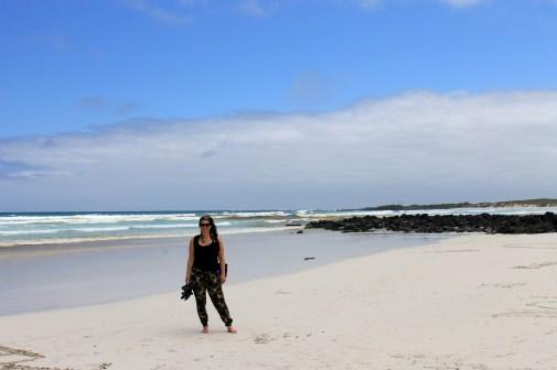 Galapagos, Santa Cruz, Endloser weisser Sandstrand in der Tortuga Bay