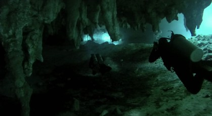 Mexiko, Tulum, Cenoten Tauchen: Mystische Unterwasserwelten beim Blick zum Einstieg in die Gran Cenote