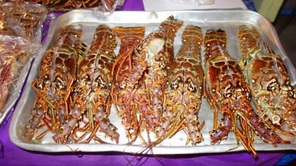 Belize, Caye Caulker: Lobster bereit für den Grill