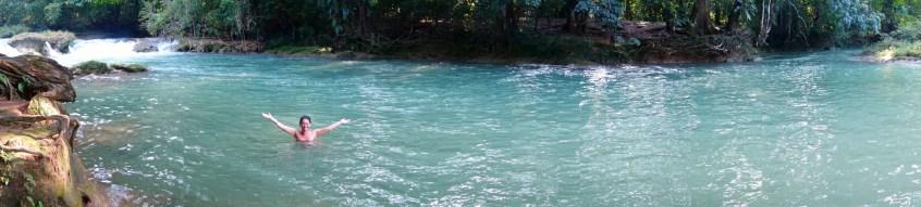 Palenque, Agua-Azul: Endlich ein erfrischendes Bad in einem der natürlichen Pools