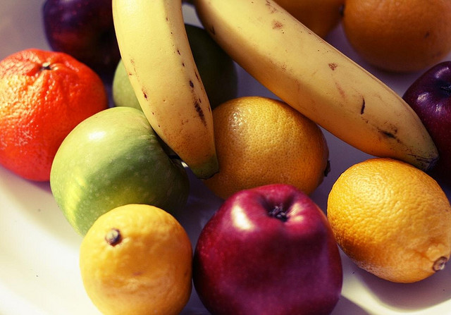 Healthy snacks - apples and bananas and other fruit