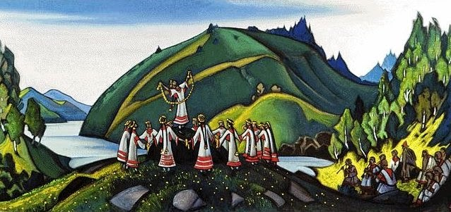Rite of Spring by Nicholas Roerich. He designed the original set and costumes although this painting was done much later.