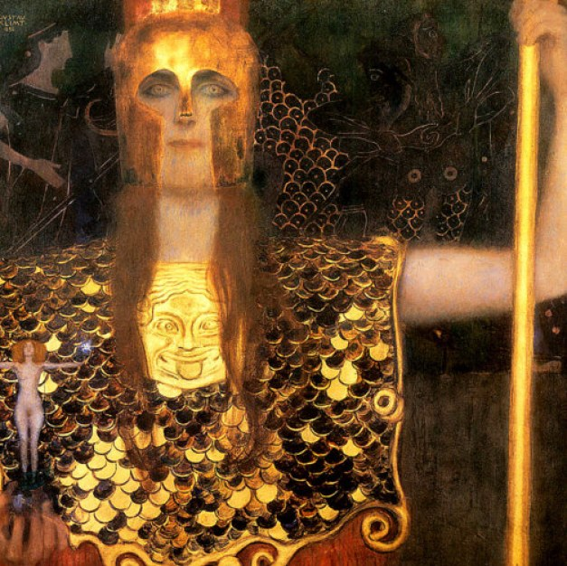 Pallas by Gustav Klimt seems strangely to embody this coming eclipse with her half-hidden gold