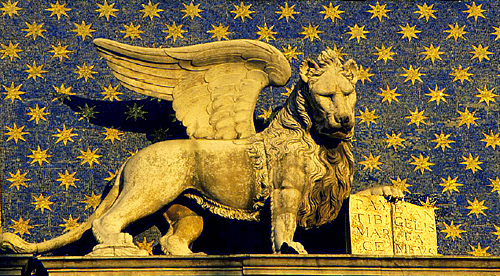Lion on the clock in St Mark's Square, Venice.