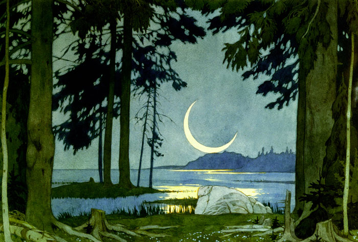 Night on the Shores of Lake Ilmen, Ivan Blibin