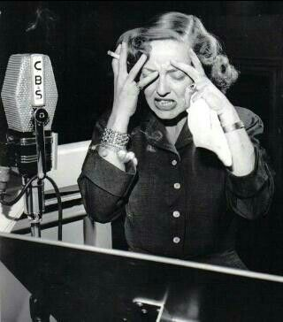 Bette Davis during a radio broadcast.