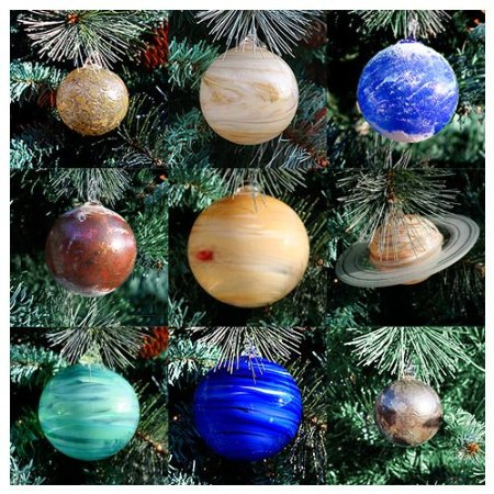 Blown glass baubles of the planets.