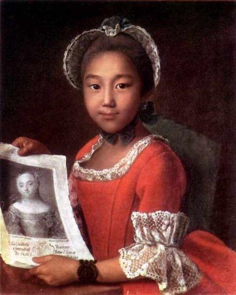 Portrait of Kalmyk girl -- 18 century. Ivan Argunov