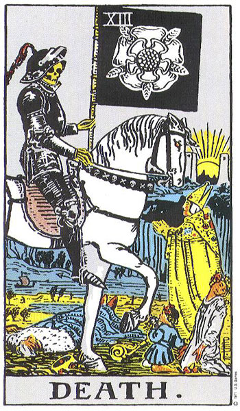 The Tarot card for death is also a symbol of resurrection after the battle.