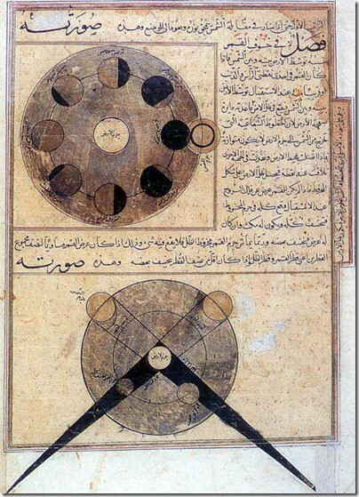 Calculation of solar and lunar eclipses, from: The Wonders of Creation, by al-Qazwini, Arabic manuscript, 14th century