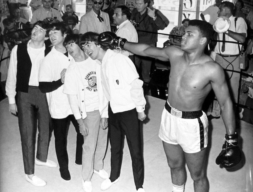 When he was still Cassius Clay with the Beatles in 1964.