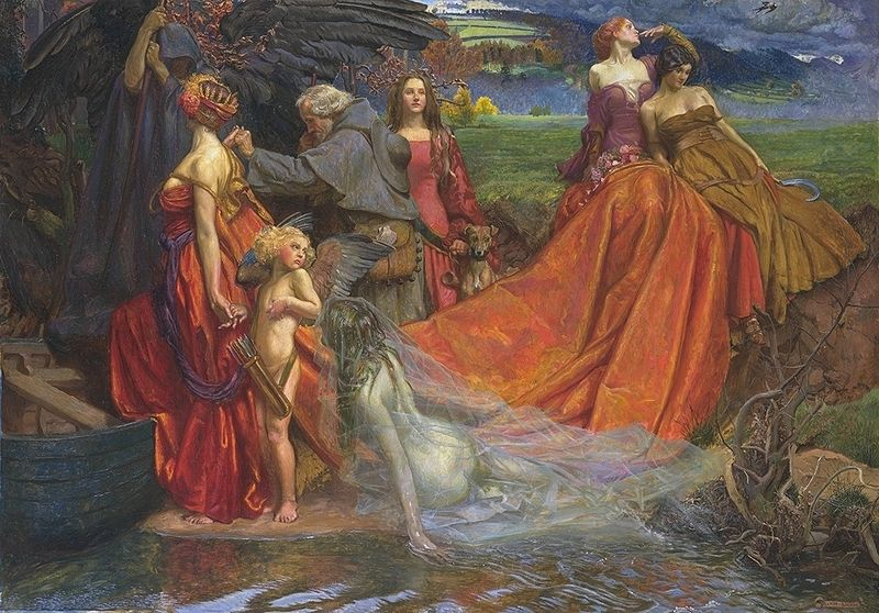 Now Is the Pilgrim Year Fair Autumn's Charge — John Byam Shaw