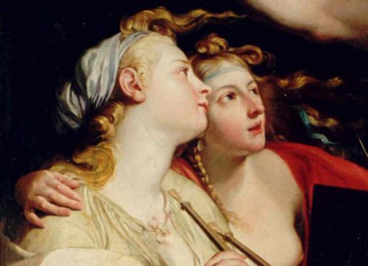 Euterpe, the muse of music, and Urania, the muse of astrology, hanging out together — Pompeo Batoni