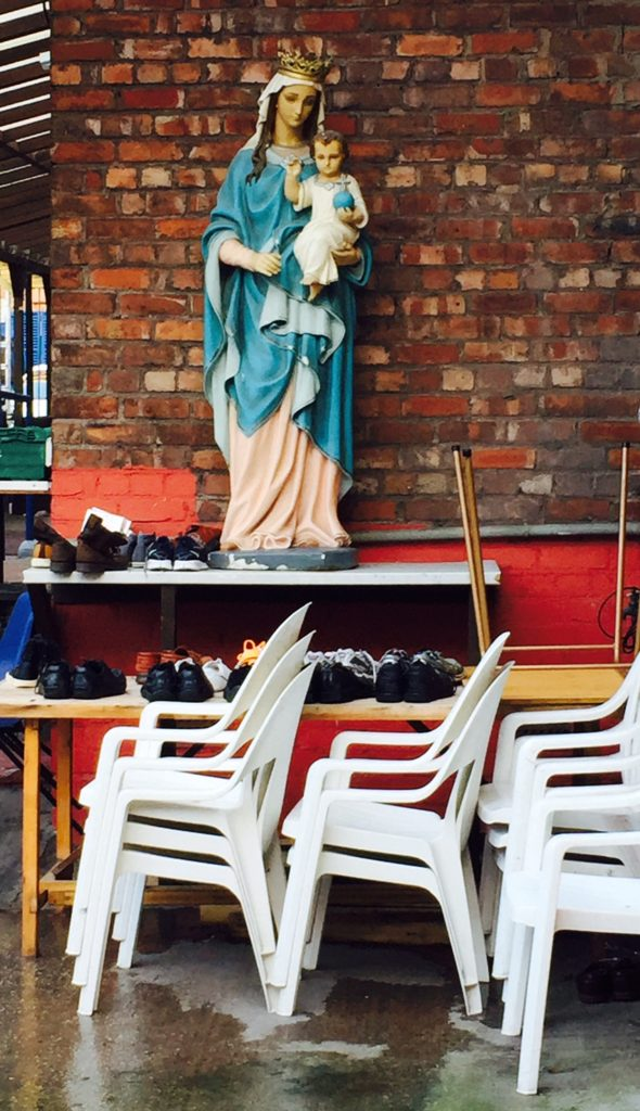 The Virgin Mary outside a nursery school in Liverpool