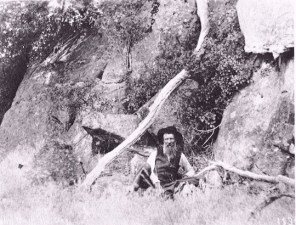 John Muir among the rocky crags