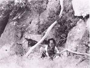 John Muir among the rocky crags