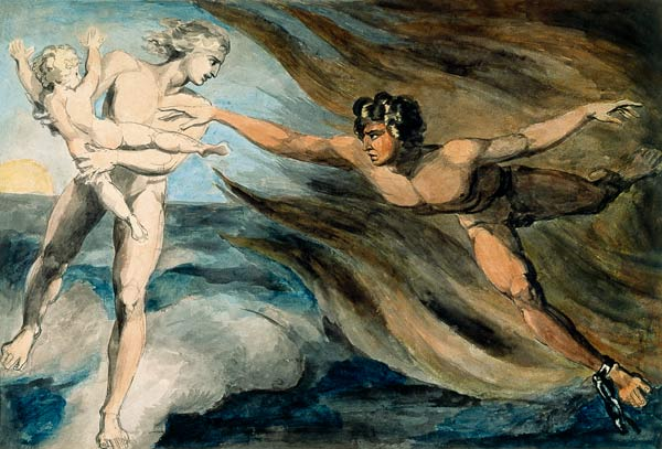 Good and Evil Angels Struggling for the Possession of a Child — William Blake