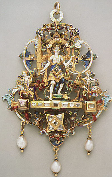 Justice pendant, c. 1600, probably from southern Germany. Gold, partly enameled, set with diamonds, emeralds and pearls