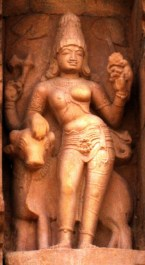 A three-armed Ardhanarishvara sculpture with only Nandi as a vahana, 11th century, Gangaikonda Cholapuram temple from Creative Commons