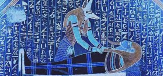 Anubis, the jackal-headed god, wakes the dead Osiris.