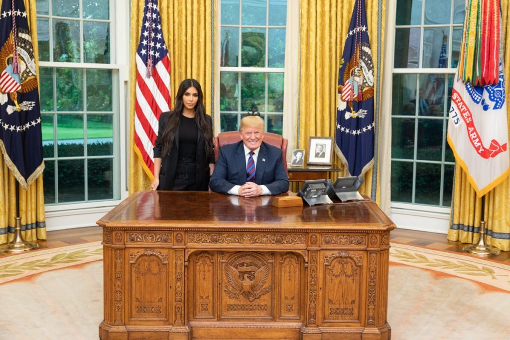 Kim Kardashian and Donald Trump in the Oval Office on May 30, 2018.