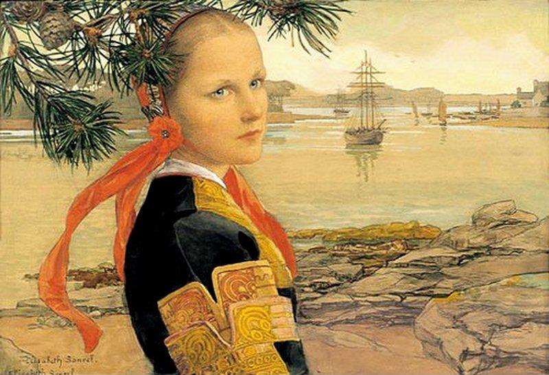Portrait of a girl by Elisabeth Sonrel