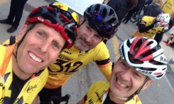 Alan Penny, Mark Osborne and Brian Cooper are all smiles after completing the gruelling Mallorca312 in April 2017.
