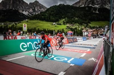 Claire Milligan crosses the line to complete the 2017 Maratona in the Italian Dolomites.