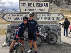 Danny Wright and Claire Milligan having conquered the highest paved road in the Alps, the Col de L'Iseran in France